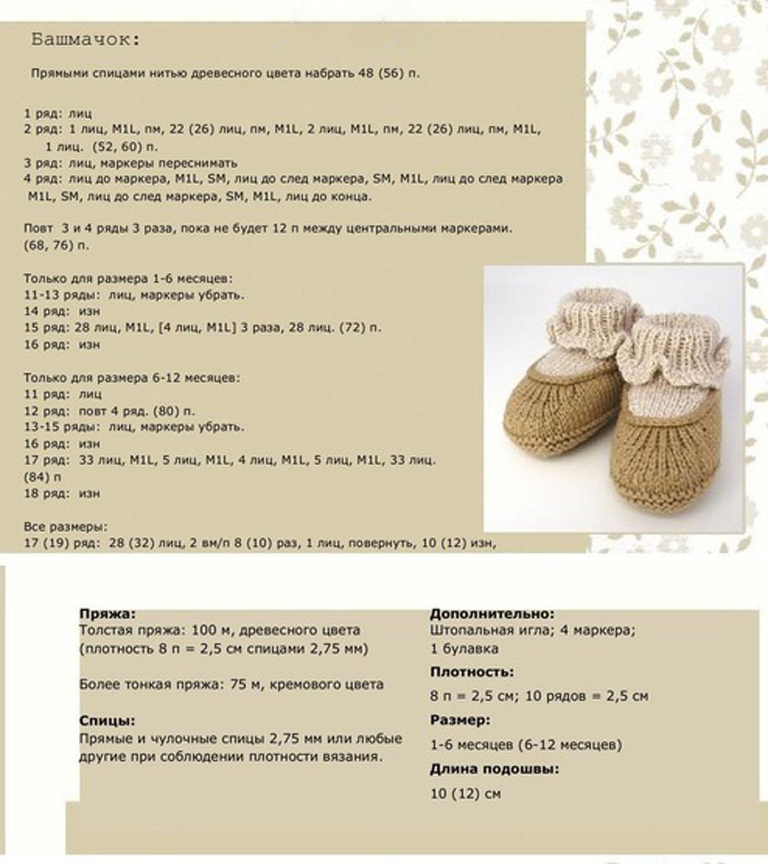 Пинетки сапожки для новорожденных схемы и описание