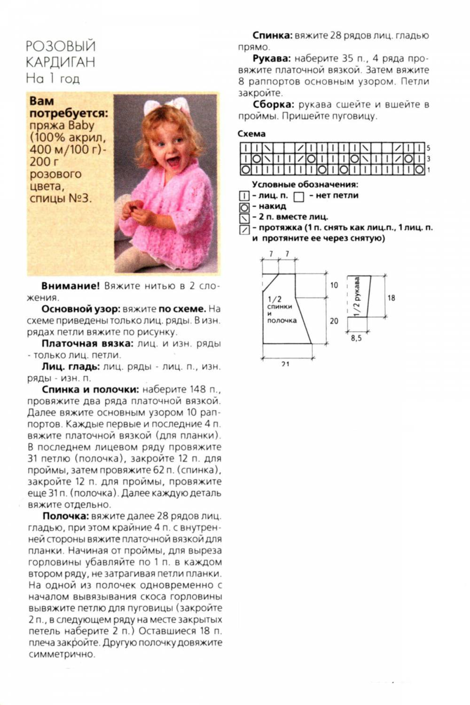 Схема простого кардигана для девочки