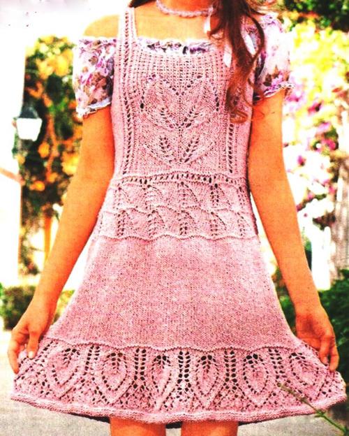 Вязание спицами платья