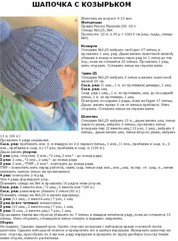 Вязанная шапочка описание и схемы