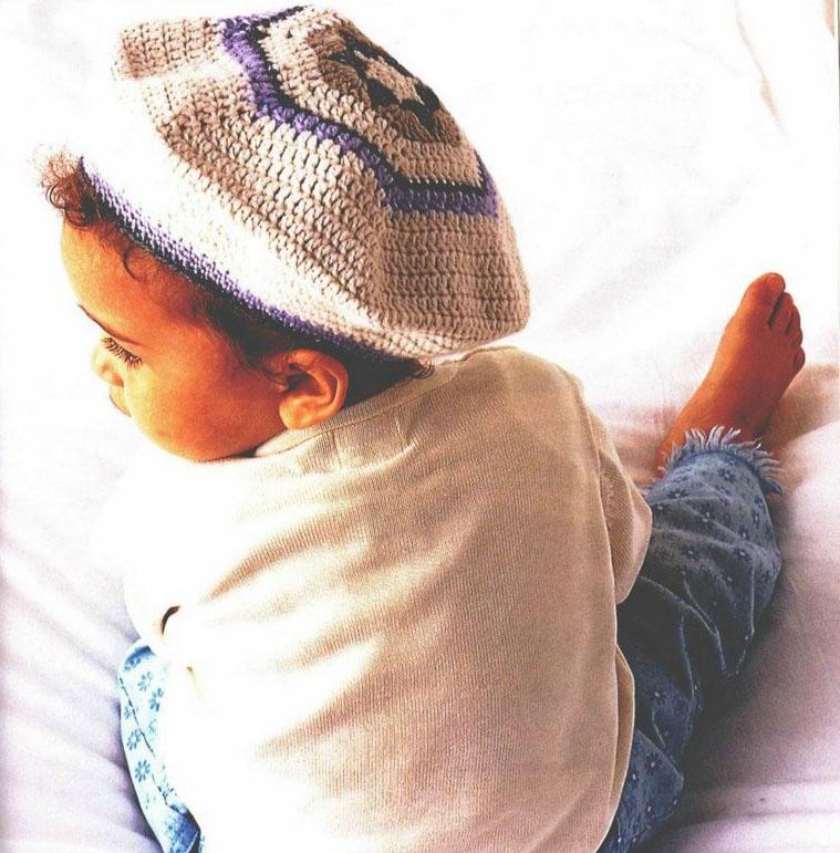 Схема вязания детских беретов спицами