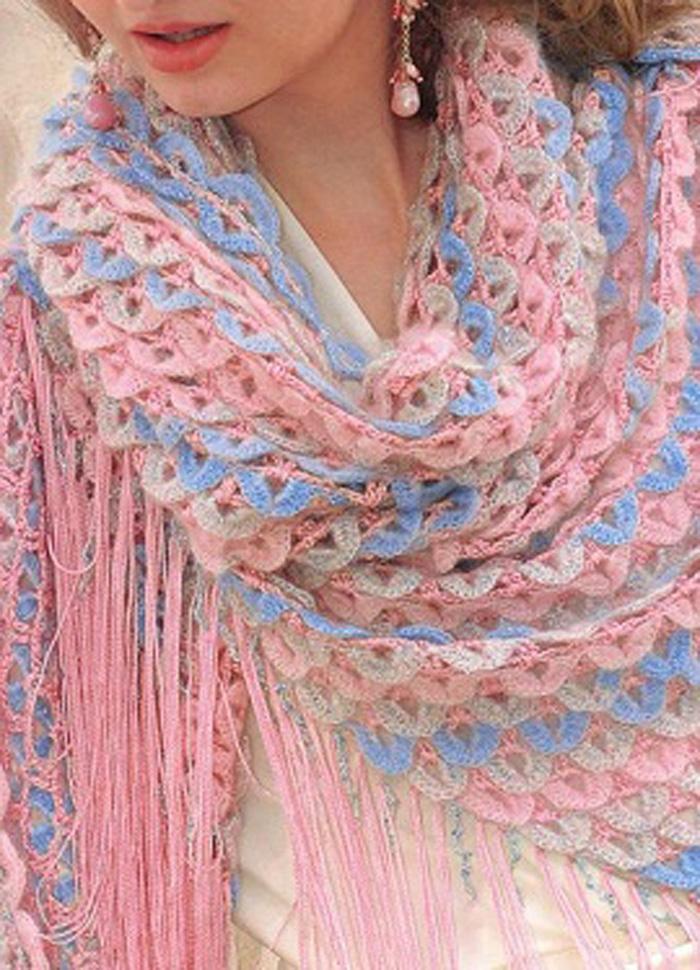 Вязание шалей крючком со