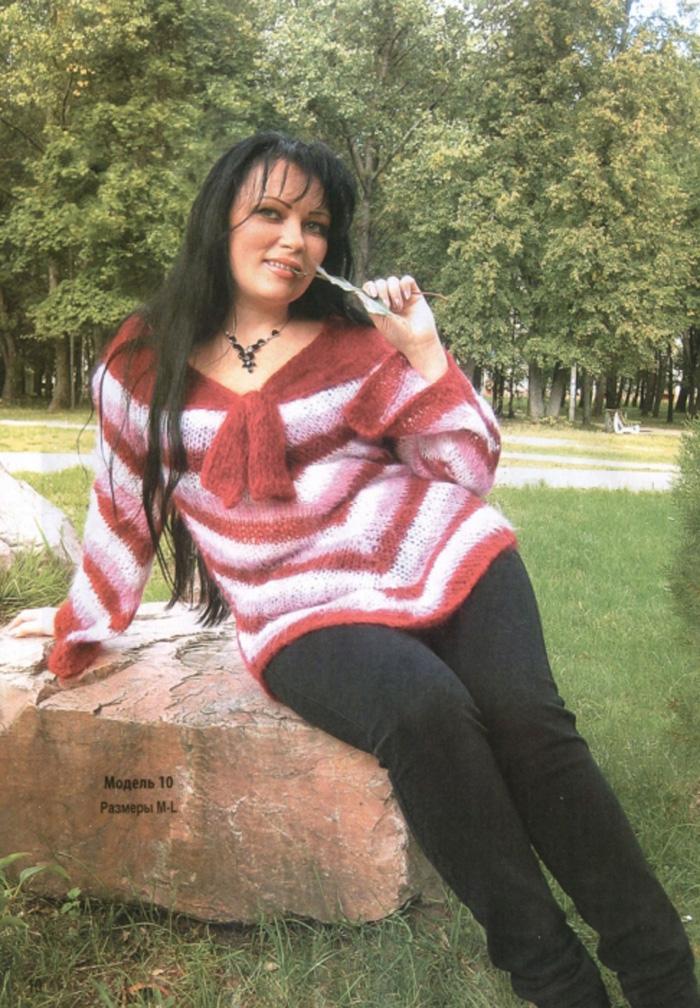 Вязание пуловера из мохера