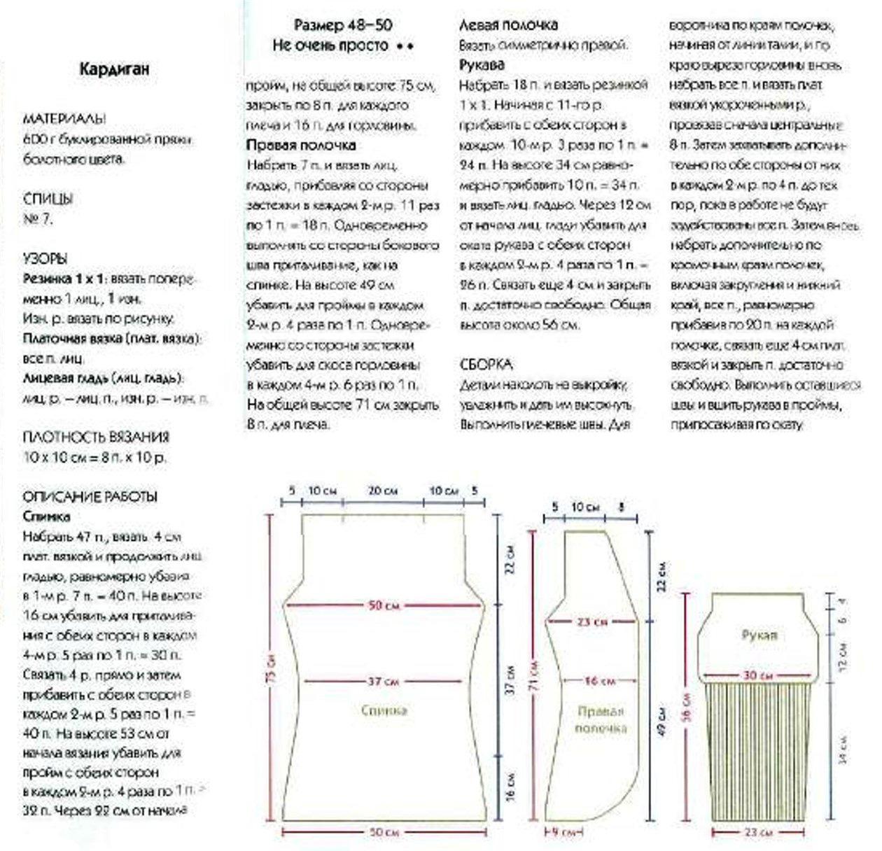 Схема для вязания кардигана лало спицами на 42-44 размер