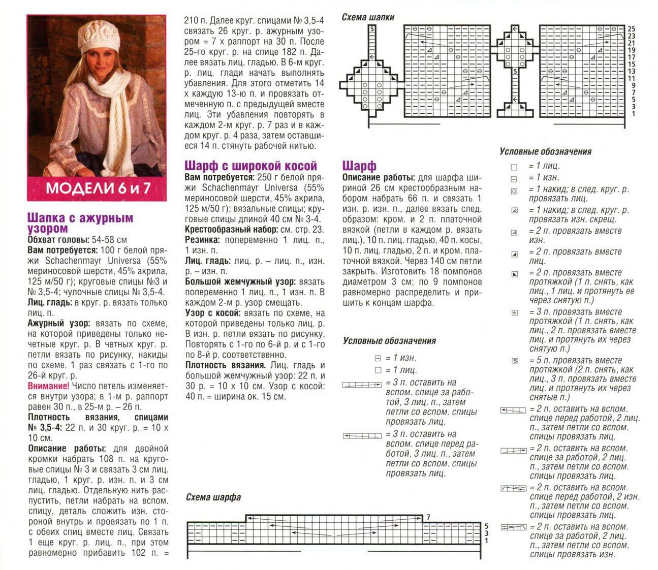 40 беретов спицами со схемами и описанием 64