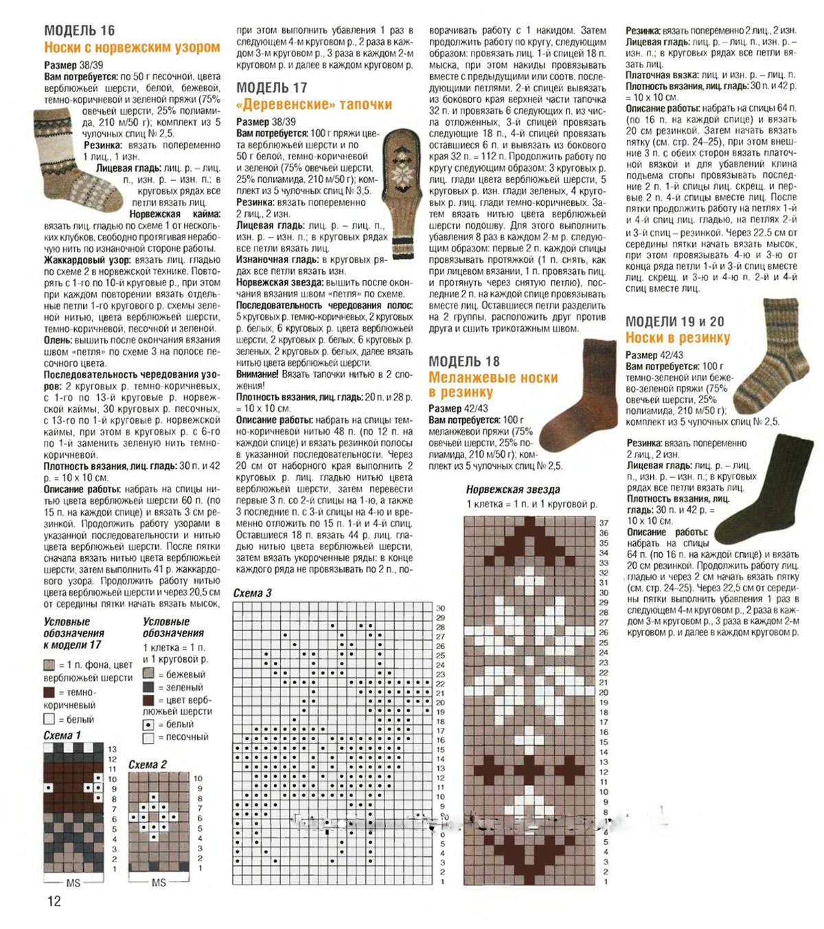 Узор для носок спицами схема вязания 832
