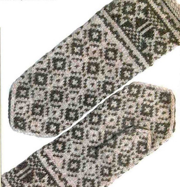 Вязание варежек с рисунком