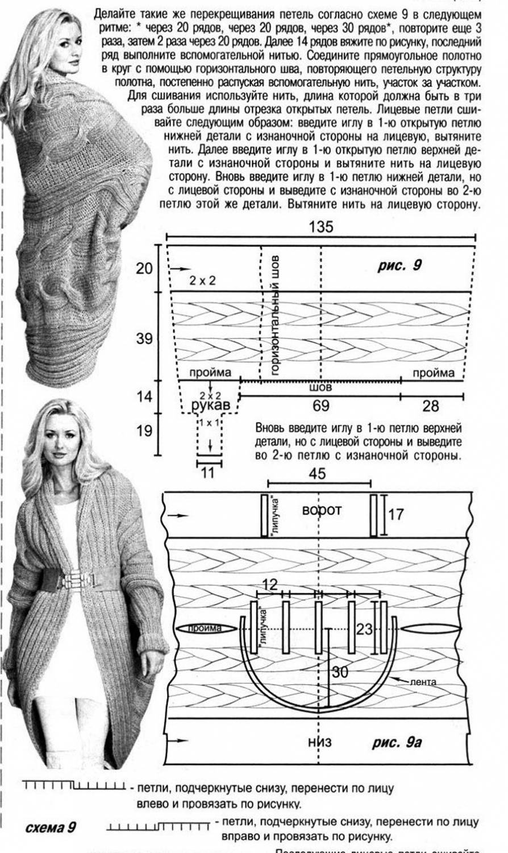 схема вязания серого пальто