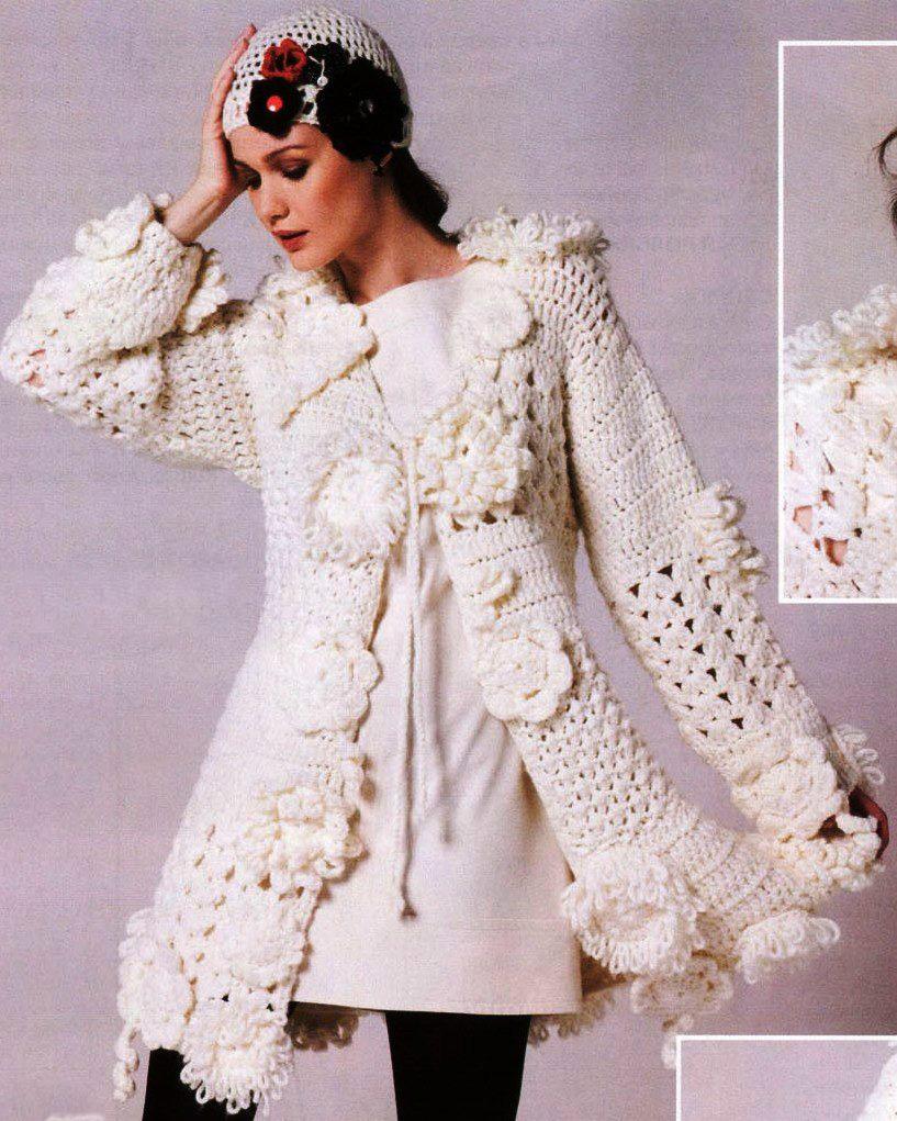 Вязание крючком - Пальто из толстой пряжи.