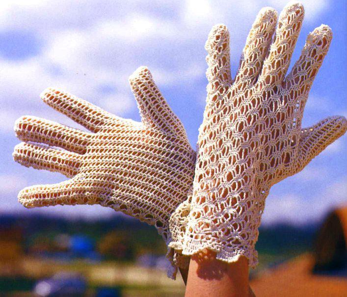 Скачать бесплатно схему вязания ажурных перчаток.