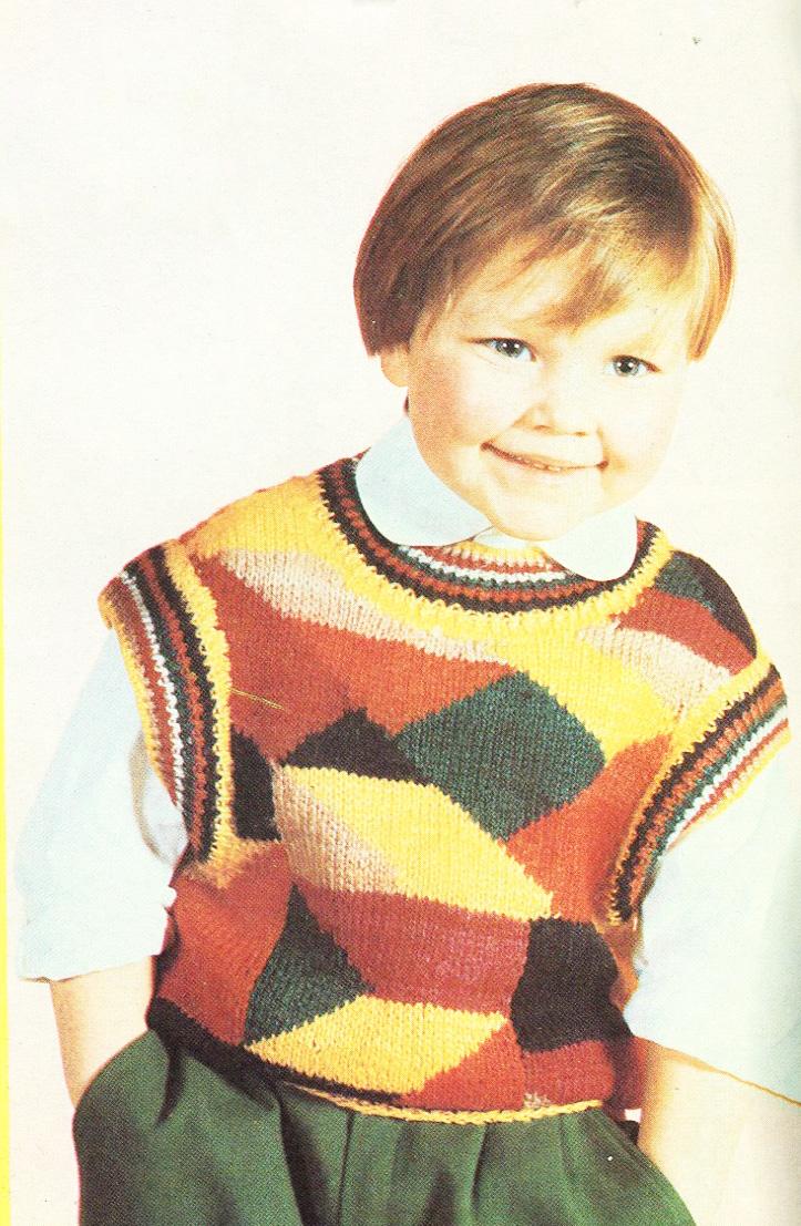 Многоцветное вязание спицами для детей 50