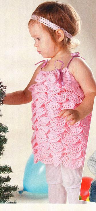 Вязание детских платьев сверху крючком