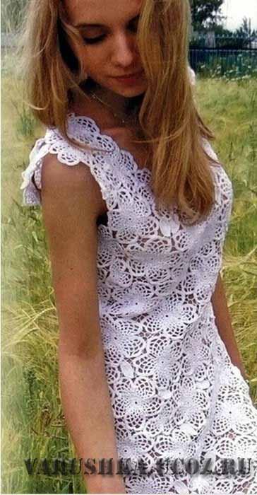 Ажурное вязание платья для