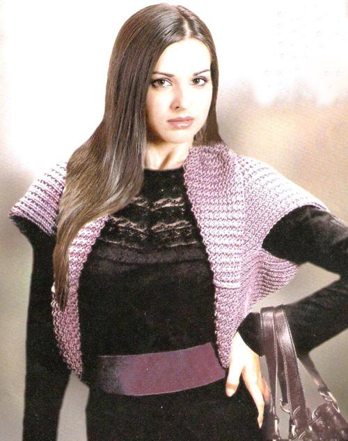 Вязание болеро платочной