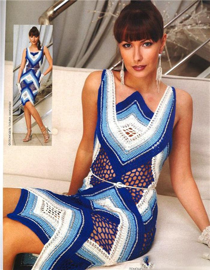 Платье крючком с сеткой